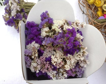 Flowers by post, vintage blues, dried organic statice