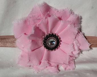 pink baby headband, flower headband, shabby chic headband, baby girl headband, pink headband, newborn headband, infant headband, baby girl