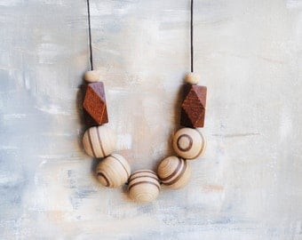 Geometric Necklace, Boho necklace, Statement Necklace, Bohemian Jewelry, Handmade necklace, Wooden necklace Asymmetrical Brown necklace