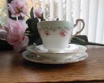 Paragon fine china Bordeaux teacup, saucer and teaplate