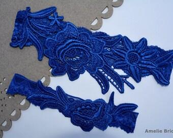 Blue Garter Wedding Garter Set Bridal Garter Set Something