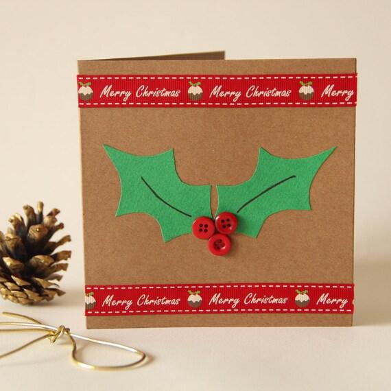 Christmas Holly Button Card