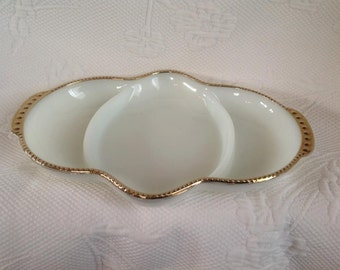 White Fire King relish dish