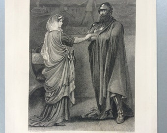 c1860 Original Antique SHAKESPEARE Engraving, MACBETH & Lady Macbeth