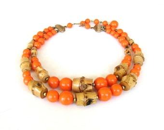 orange citrus & bamboo beaded necklace . 1960s double strand necklace . vintage 2 strand 60s necklace