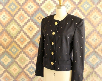 80s 90s gold studded jacket by Elegance Couture Paris . womens fitted wool blazer with oversized buttons