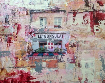 Original Mixed Media Collage Art Painting - Colorful French Cafe