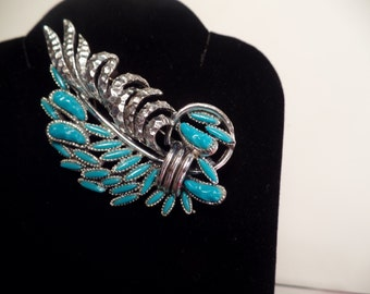 1970's Faux Turquoise Brooch-Nice Design