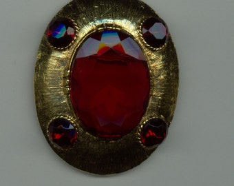 Rare 1950's Brooch with Red Stones Signed Dalsheim