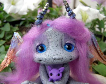 "OOAK Gargoyle Goblin Faerie Trollfling Troll doll ""Lila"" with her pet dragon ""Pepper"" by Amber Matthies"