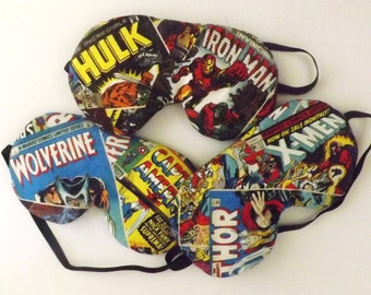 Set of 3 Comic Book Page Sleep Masks - Comes as Shown - Handmade - Fits Kids to Adults