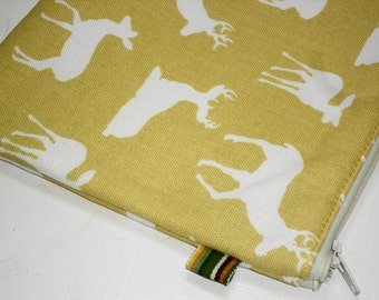 Trendy Woodland Deer Extra Large Padded Zippy Pouch /  Cosmetic Bag / Clutch -- Yellow (Other Colors Available)