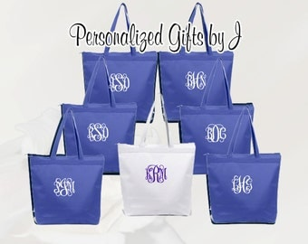 Personalized Zippered Tote Bag Bridesmaid Gift Set of 10 Monogrammed Tote, Bridesmaid Tote, Personalized Tote