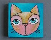 "5x5 Small Acrylic Cat Painting - ""Jackson"""
