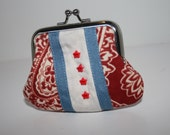 Chicago Flag Themed Fabric Metal Coin Purse, Coin Purse Silver Frame, Jewelry Bag, Penny Bag
