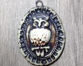 Ornate Owl Pendant in Pewter and Bone White Ceramic