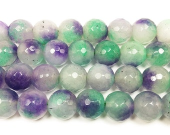 Multi Color Purple Green White Jade Faceted Gemstone Beads