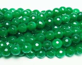 Forest Green Jade Faceted Gemstone Beads