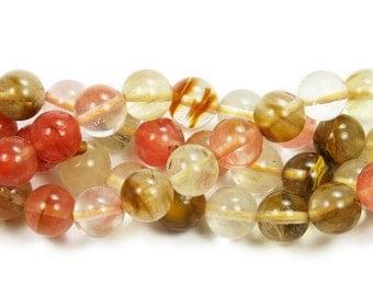 Fire Cherry Quartz Round Glass Beads