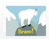 Congratulations Card, Bravo Greeting Card, Mountain Goat Card, Graduation Card, New Job Card, Congrats Card, Funny Card, Cheers Card, Hooray