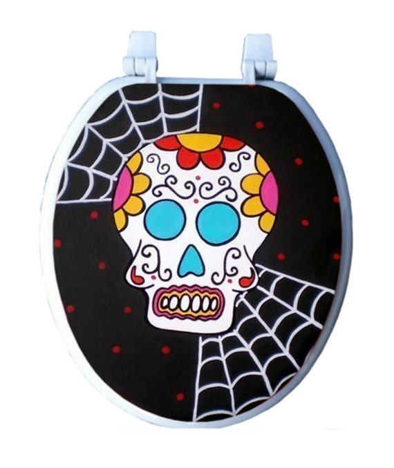 Calavera Day of the Dead Skull Toilet Seat Halloween by Debbie Is Adopted