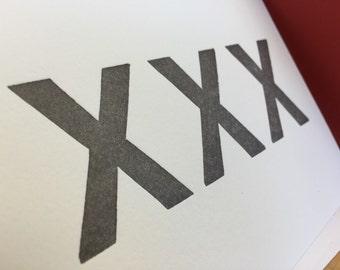 XXX letterpress straight edge card