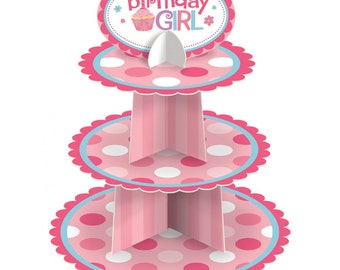 FREE SHIPPING Birthday Girl or Boy Cupcake Tower Stand with Polka Dots and optional top sign with 3 tiers or levels