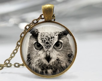 Owl Pendant, Bird Art Necklace, Owl Jewelry, Bird Art Pendant, Bird Jewelry, Owl Gift, Owl Art Pendant, Bronze, Silver, 011