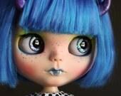 "SALE OOAK Custom Blythe Art Doll ""Bugaboo"" by Dear Girlface Dolls Monster Girl with Fangs and Horns"