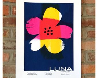 Luna 2015 Tour Poster Screenprint - West Coast Silkscreen Rock Poster - Pacific Blue Flower Art
