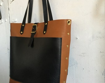 Black and Tan three pocket tote