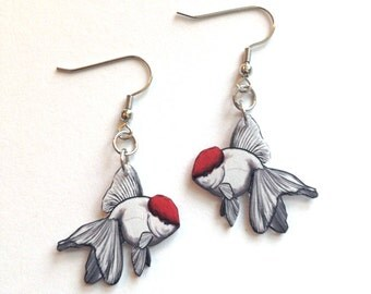 Handcrafted Plastic Red Cap Oranda Goldfish Earrings