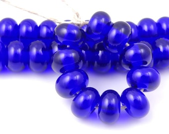 060 Transparent Cobalt Blue Spacers - Handmade Lampwork Glass Spacer Beads 5mm - SRA (Set of 10 Spacer Beads)