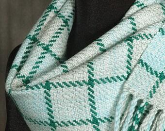 Mint scarf / Handwoven merino wool winter scarf / green tattersall
