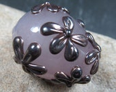 Opal llilac Easter egg focal bead with pewter flowers