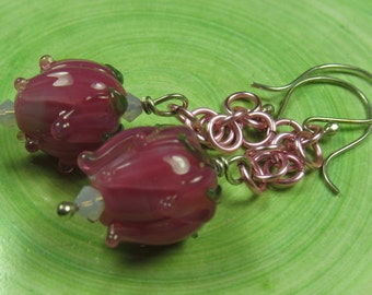 Bubblegum pink flower bud dangle earrings