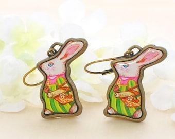 White Bunny Rabbit Earrings Time for Gardening - Bunny Earrings - Rabbit Inspired - Retro Inspired