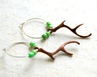 Copper Antler Earrings - Antler Earrings - Hoop Earrings - Deer Antler Earrings -Turquoise Earrings - Mohave turquoise - Woodland Wedding