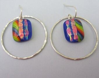 Argentium Sterling Silver hoop earrings Cobalt rainbow red fused dichroic glass earrings dichroic 16 gauge hammered hoop dangle earrings