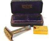 Antique Gem Safety Razor Shaving Kit in Purple Velvet Lined Box Goldtone Circa 1930s