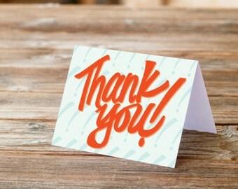 Thank you greeting card handlettering retro fun thanks