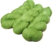 Handpainted Sparkle Fingering Yarn - Star Dust - 100 gm JINGLE BELLS GREEN - Merino Wool Nylon Stellina Sock Yarn - Lot #150628