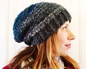 Ribbed crochet Slouch hat in gray and teal