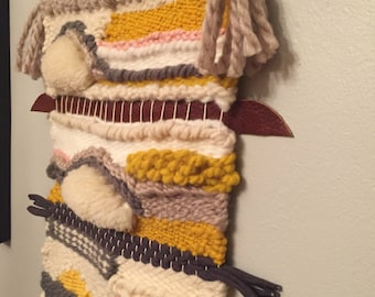 Woven wall hanging gray pink yellow driftwood
