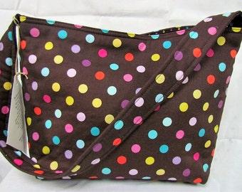 HALF PRICE SALE Medium Tote Brown with Colorful Polka Dots