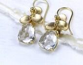 White Topaz Petal Earrings in 18k Yellow Gold - In Stock