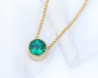 Emerald Necklace in 18k Gold, May Birthstone, Lab Grown Stone, Handmade in the UK