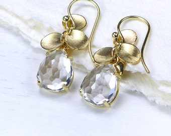 White Topaz Petal Earrings in 18k Yellow Gold - In Stock