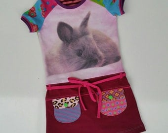 size 5T (43 3/4 inch height) Upcycled shirt girls dress bunny