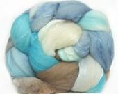MERINO SILK handdyed wool roving top spinning or felting fiber 3.6 oz